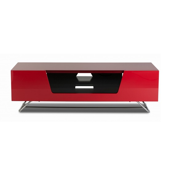 Romi Medium LCD TV Stand In Red With Chrome Base_2