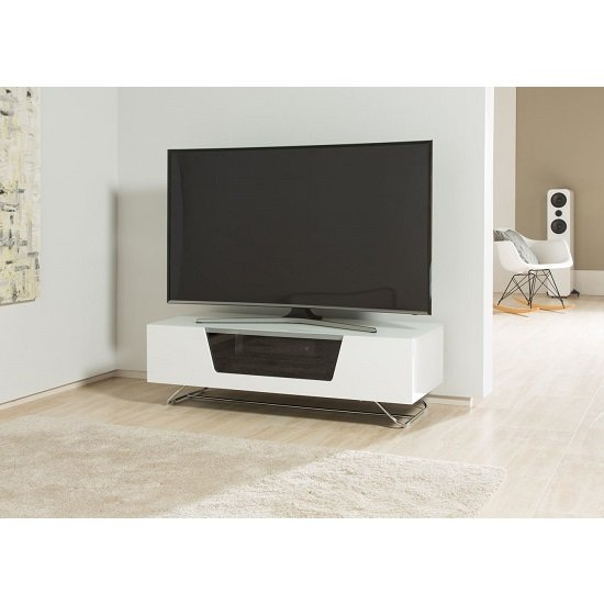 Romi Medium LCD TV Stand In White With Chrome Base