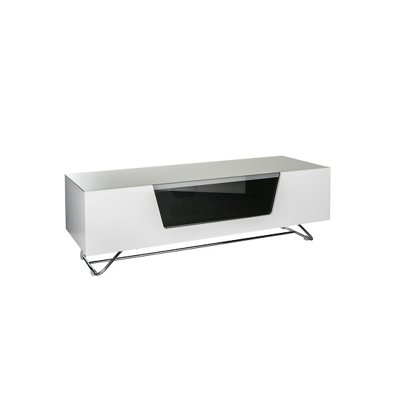 Romi Medium LCD TV Stand In White With Chrome Base_3