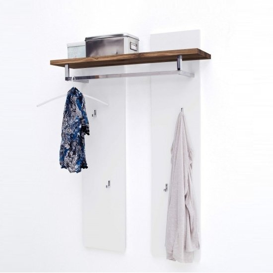 Romina Wall Mounted Coat Rack In Knotty Oak And Matt White_2
