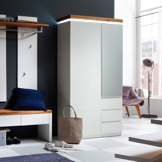 Read more about Romina hallway wardrobe in knotty oak and matt white with led