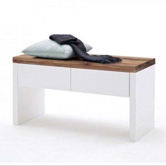 Romina Shoe Bench In Knotty Oak And Matt White With 2 Drawers_2