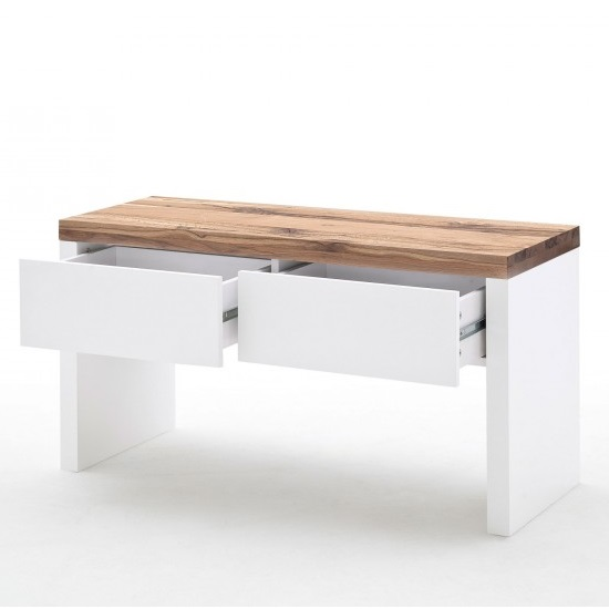 Romina Shoe Bench In Knotty Oak And Matt White With 2 Drawers_3