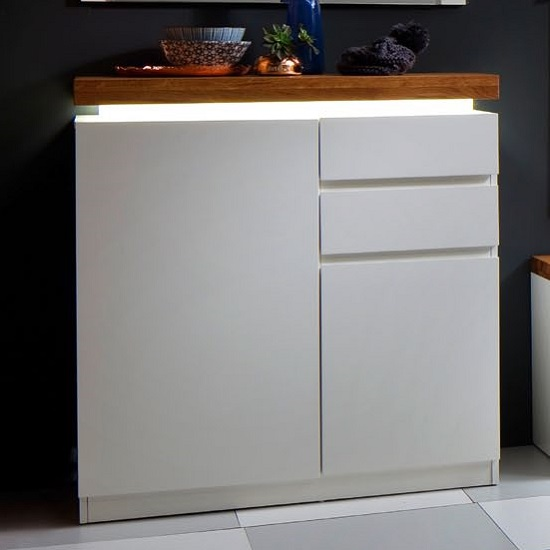 Romina Shoe Storage Cabinet In Knotty Oak Matt White With LED