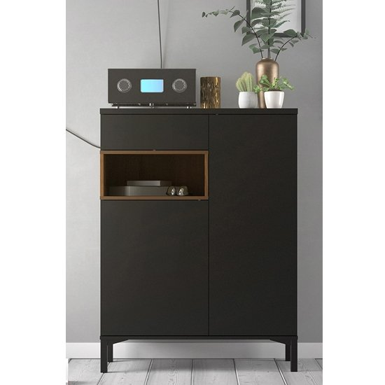 Romtree Wooden 2 Doors 1 Drawer Highboard In Black And Walnut