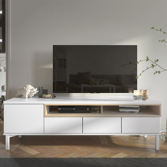 View Romtree wooden 1 door 3 drawers tv stand in white and oak