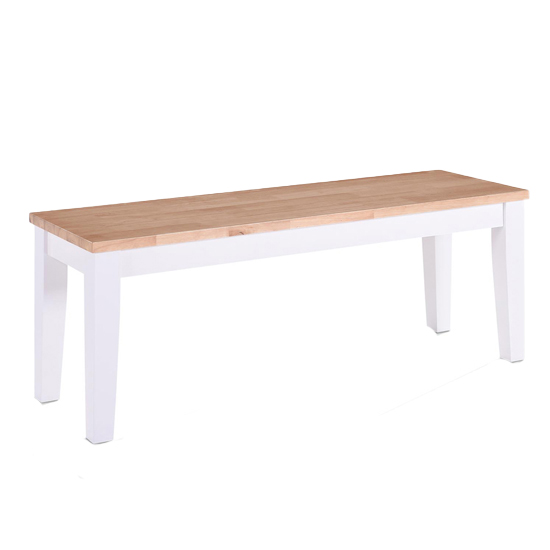 Rona Wooden Oak Solid Seat Dining Bench In Grey