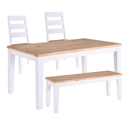 Rona Wooden Oak Top Dining Table In Grey With 2 Chairs And Bench