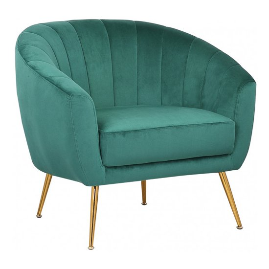 Ronaldo Velvet Armchair In Green With Gold Steel Legs