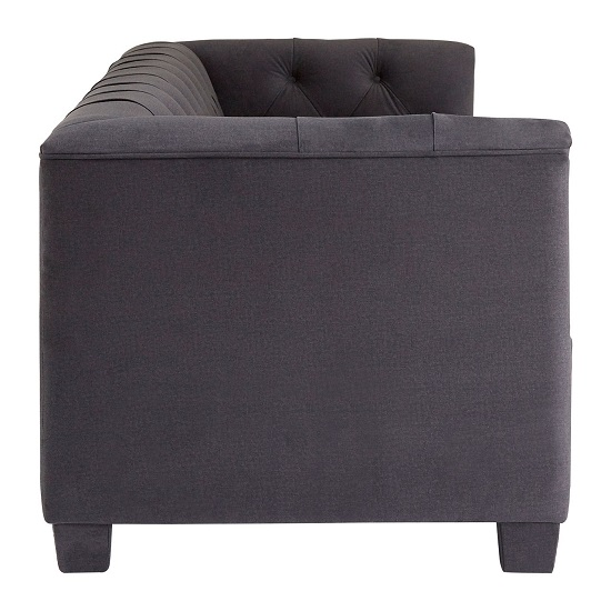 Ronan 3 Seater Sofa In Dark Grey Velvet With Wooden Legs_3