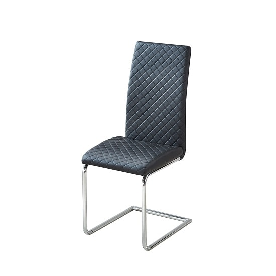 Ronn Dining Chair In Black Faux Leather With Chrome Legs