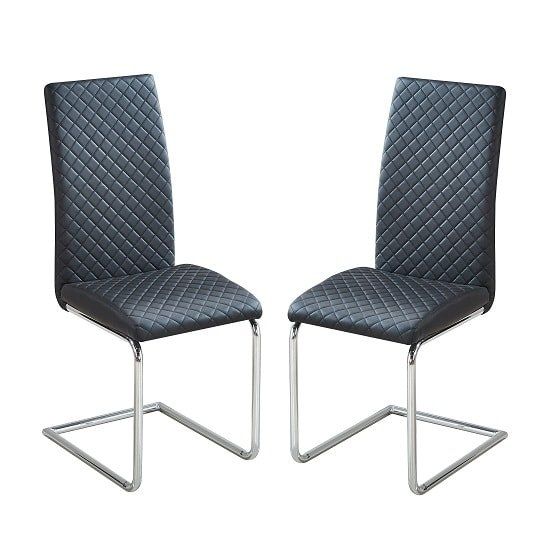 Ronn Dining Chair In Black Faux Leather In A Pair