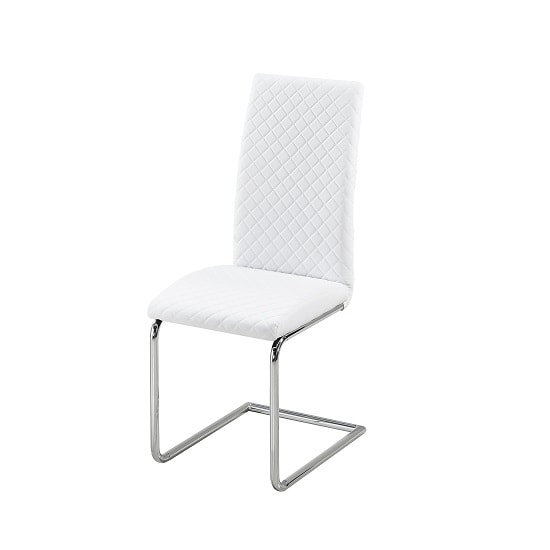 Ronn Dining Chair In White Faux Leather With Chrome Legs