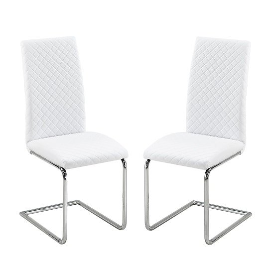 Ronn Dining Chair In White Faux Leather In A Pair