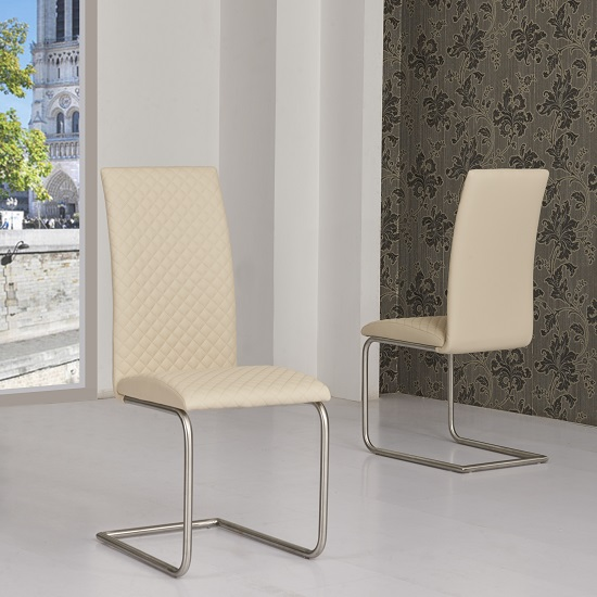 Ronn Dining Chair In Cream Faux Leather In A Pair