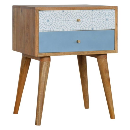 Hedley Wooden Bedside Cabinet In Blue Patterned And Oak