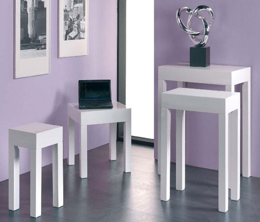 White High Gloss Side End Square 2 Seats Of Coffee Table: Linea Square Side Table In High Gloss White 6643 Furniture