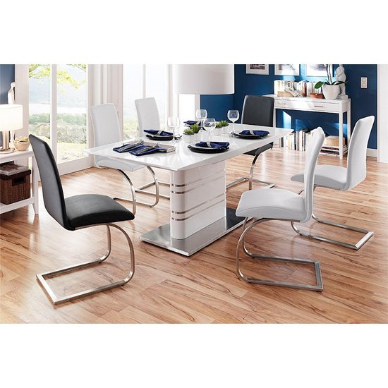 Modus Extendable Dining Table 4 White 2 Black Maui Chairs