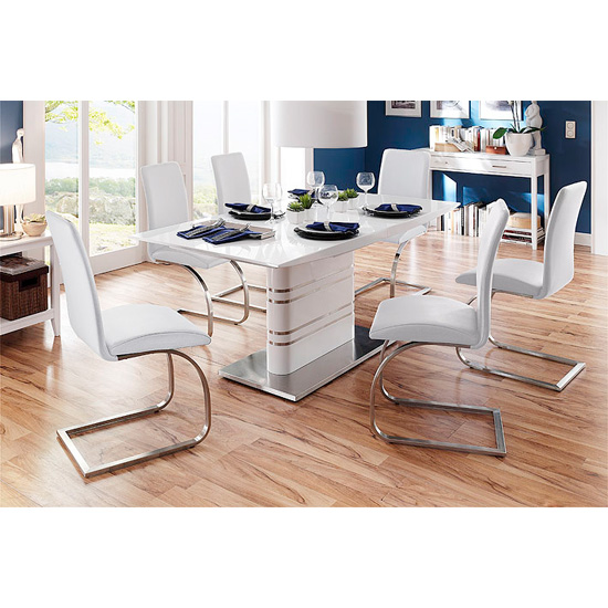 Modus Extendable Dining Table With 6 Maui White Chairs