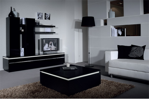 Elisa Sideboard In High Gloss Black With 3 Doors And Lighting