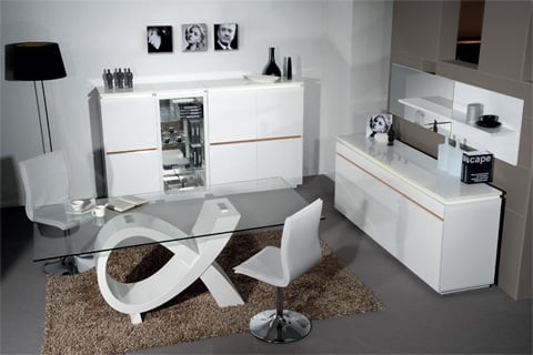 Elisa Glass Dining Table In Clear With High Gloss White Base