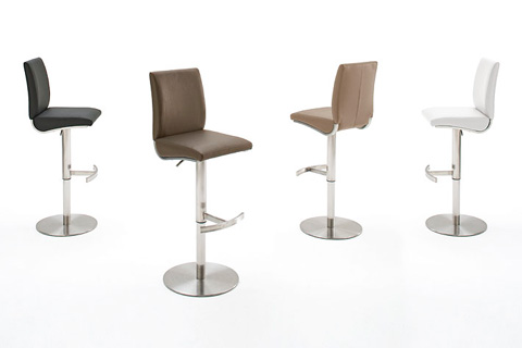 Kitts Bar Stool In Faux Leather With Chrome Base