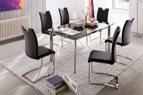 Koln Dining Chair In Grey Faux Leather With Chrome Legs