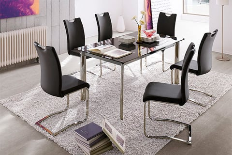Koln Dining Chair In Black Faux Leather With Chrome Legs