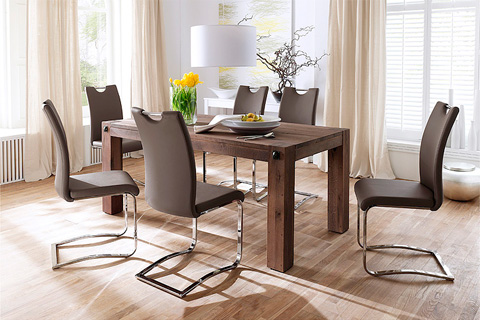 Leeds Solid Wood 8 Seater Dining Table With Koln Chairs