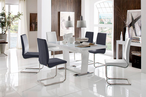 Lotus PU Leather Dining Chair With Chrome Legs