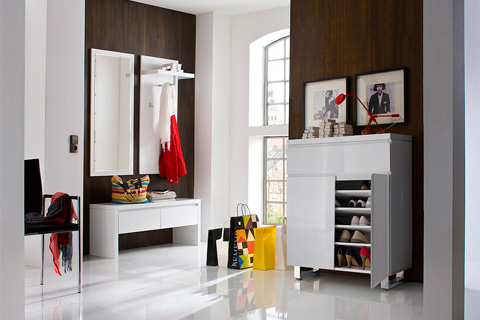 Sydney Shoe Cupboard In High Gloss White With 4 Doors 7