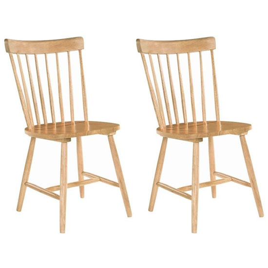 Rosa Oak Wooden Padded Dining Chair In A Pair
