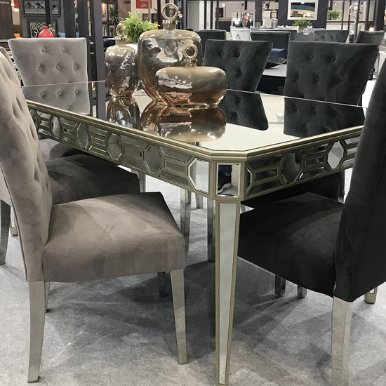 Rosa Wooden Mirrored Dining Table In Silver_1