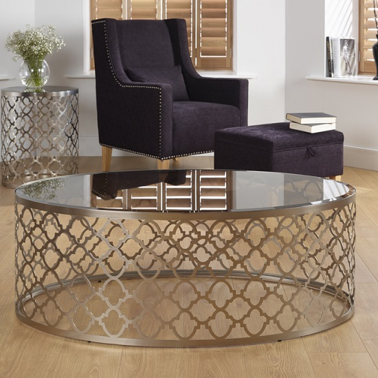 Rosa Coffee Table In Smoked Glass With Satin Plated Base Frame