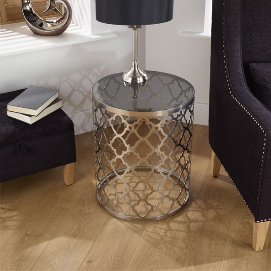 Rosa Lamp Table In Smoked Glass With Satin Plated Base