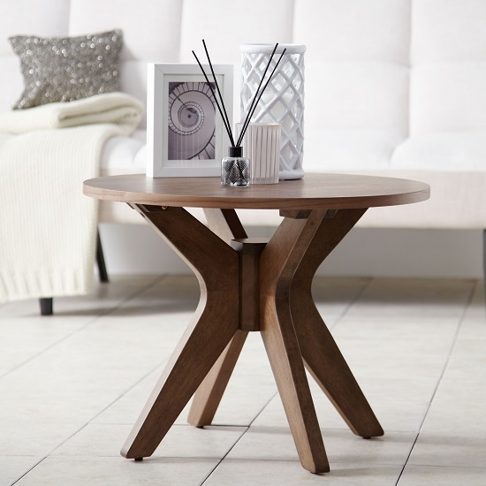 Rosalyn Contemporary Wooden Lamp Table In Walnut