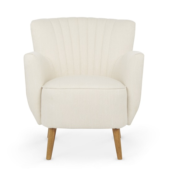 Rosario Fabric Lounge Chair In Cream With Wooden Legs_3