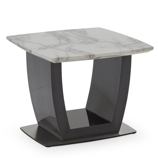 Roscoe Marble Lamp Table In White With High Gloss Metal Base