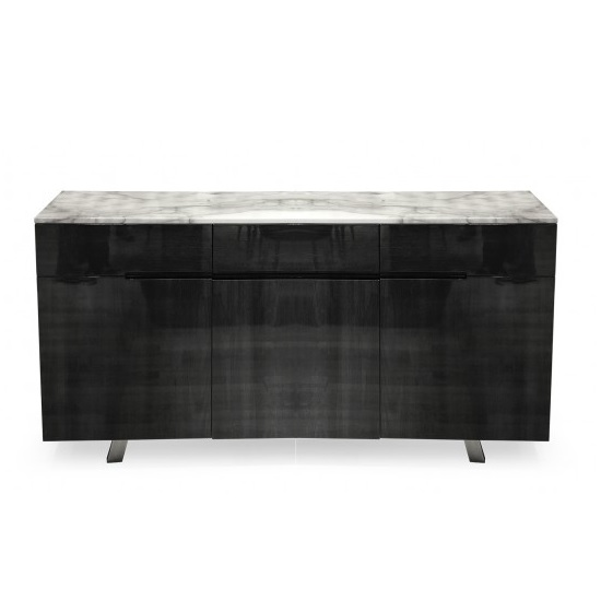 Roscoe Marble Top Sideboard In White With High Gloss Metal Base