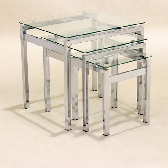 Roscrea Glass Nest Of 3 Tables In Clear With Chrome Legs