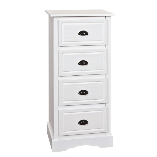 Roscrea Wooden Chest Of Drawers Tall In White With 4 Drawers