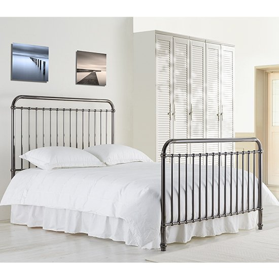 Rose Classic Metal King Size Bed In Black Nickel