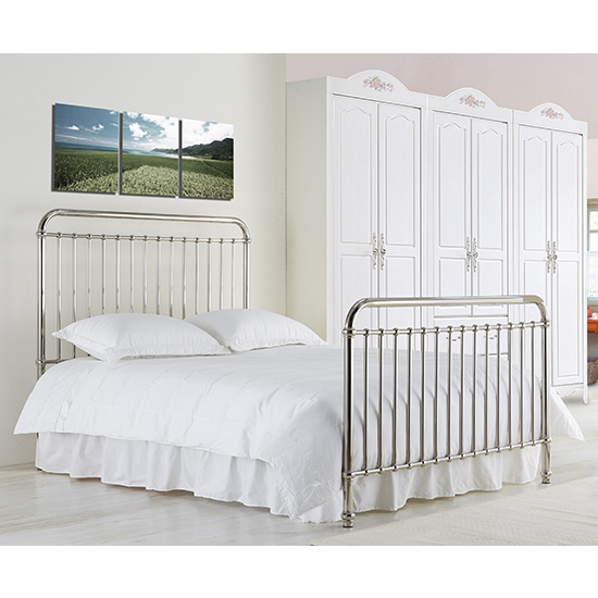 Rose Classic Metal King Size Bed In Chrome