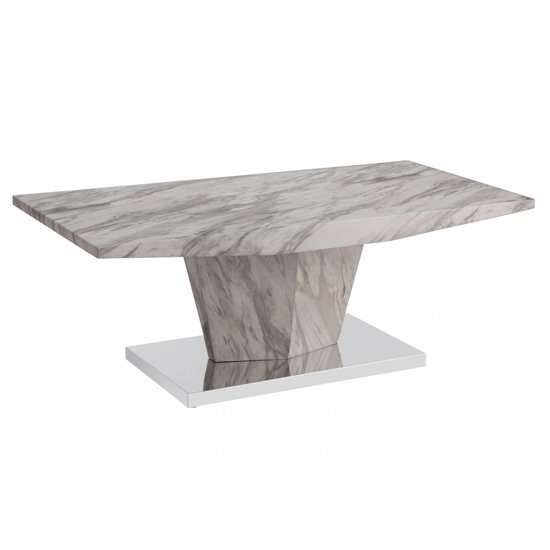 Rosebank Marble Effect Coffee Table With Stainless Steel Base