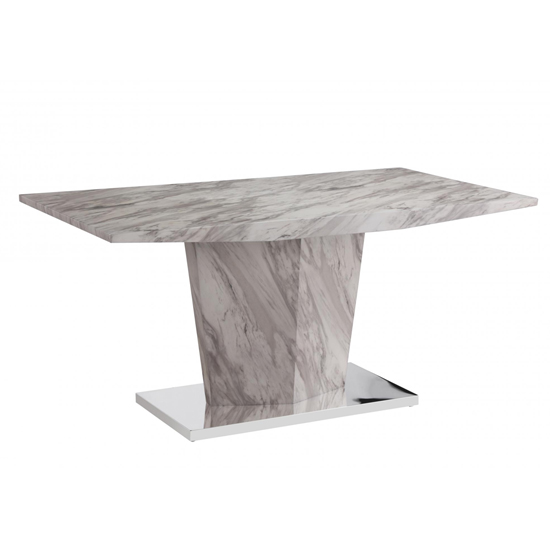 Rosebank Marble Effect Dining Table With Stainless Steel Base