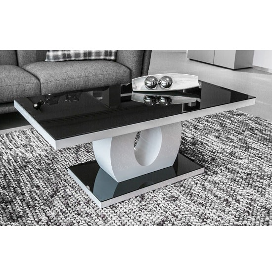 Roselle Coffee Table In Black Glass And Gloss White Frame_1 ...