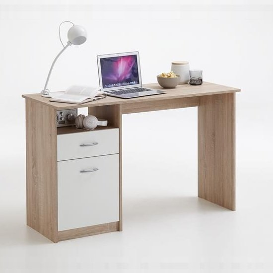 Rosemary Contemporary Computer Desk In Canadian Oak And White