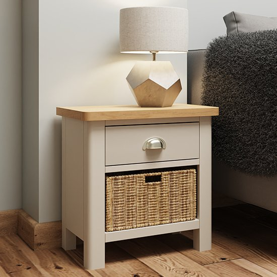 View Rosemont wooden 1 basket unit lamp table in dove grey