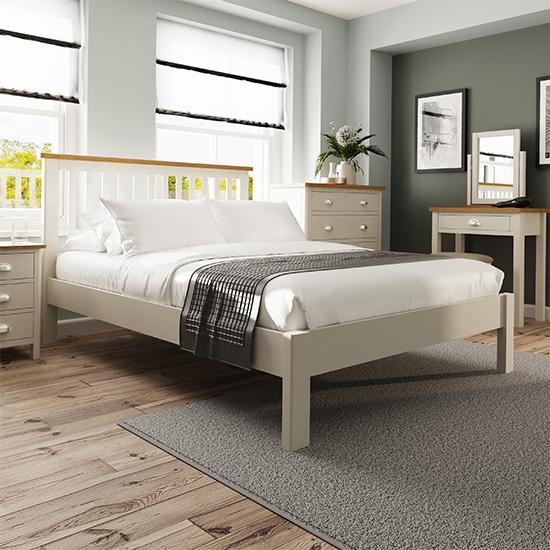 View Rosemont wooden double bed in dove grey