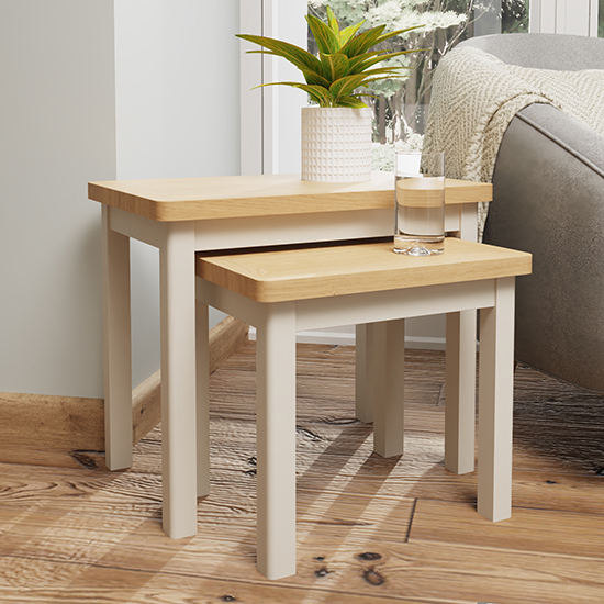 View Rosemont wooden nest of 2 tables in dove grey